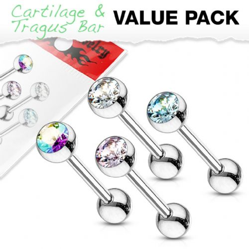 4 Pack of Cartilage Bars with Gem Tops
